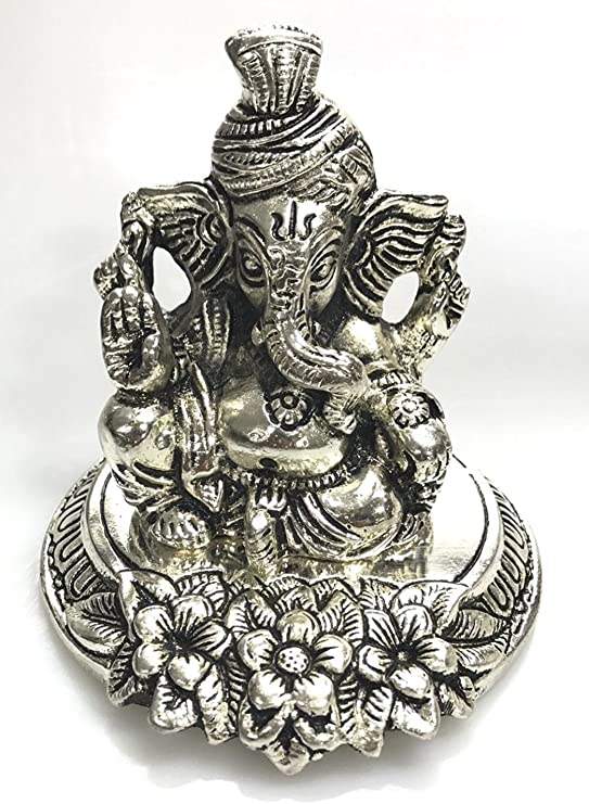 Amazon Com Goldgiftideas Oxidized White Metal Lord Ganesha Idol