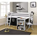 Noa and Nani - Midsleeper Cabin Bed with Desk and Pirate Tent - (White)