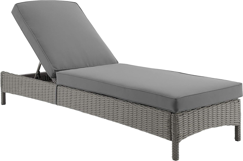 Amazon Com Crosley Furniture Ko70070gy Gy Bradenton Chaise Lounge Gray With Gray Cushions Garden Outdoor