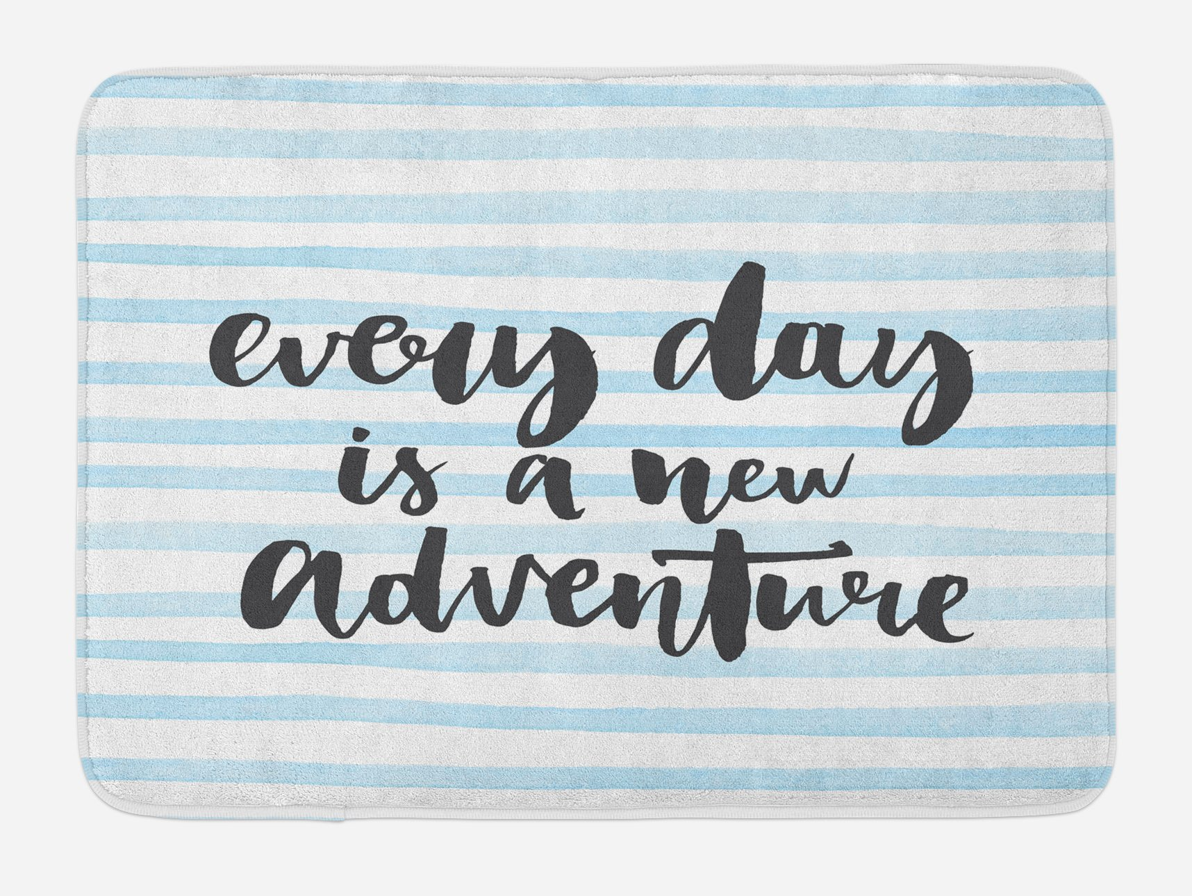 Lunarable Quote Bath Mat, Everyday is a New Adventure Calligraphy on Striped Background, Plush Bathroom Decor Mat with Non Slip Backing, 29.5 W X 17.5 W Inches, Baby Blue White and Charcoal Grey