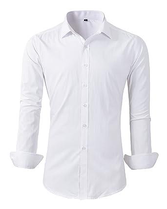 Benibos Mens Casual Long Sleeve Button Down Shirt Slim Fit Dress