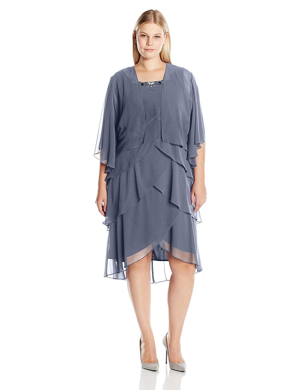 1920s Plus Size Dresses S.L. Fashions Womens Plus Size Jacket Dress Rhinestone Trimmed Multi Tiered Dress $89.00 AT vintagedancer.com
