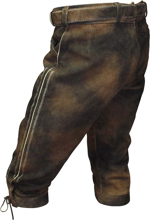 Lederhose Trachten Kniebundhose braun Patina Trachtenlederhose mit Zipp Gürtel