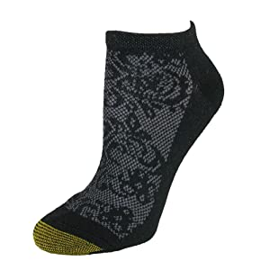 Gold Toe Women's Floral Sport No Show Socks (6 Pair Pack), Black