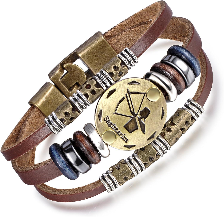 feilok elegante aleación piel Zodiac Constelación ajustable brazalete pulsera Strand pulsera para Unisex, color marrón