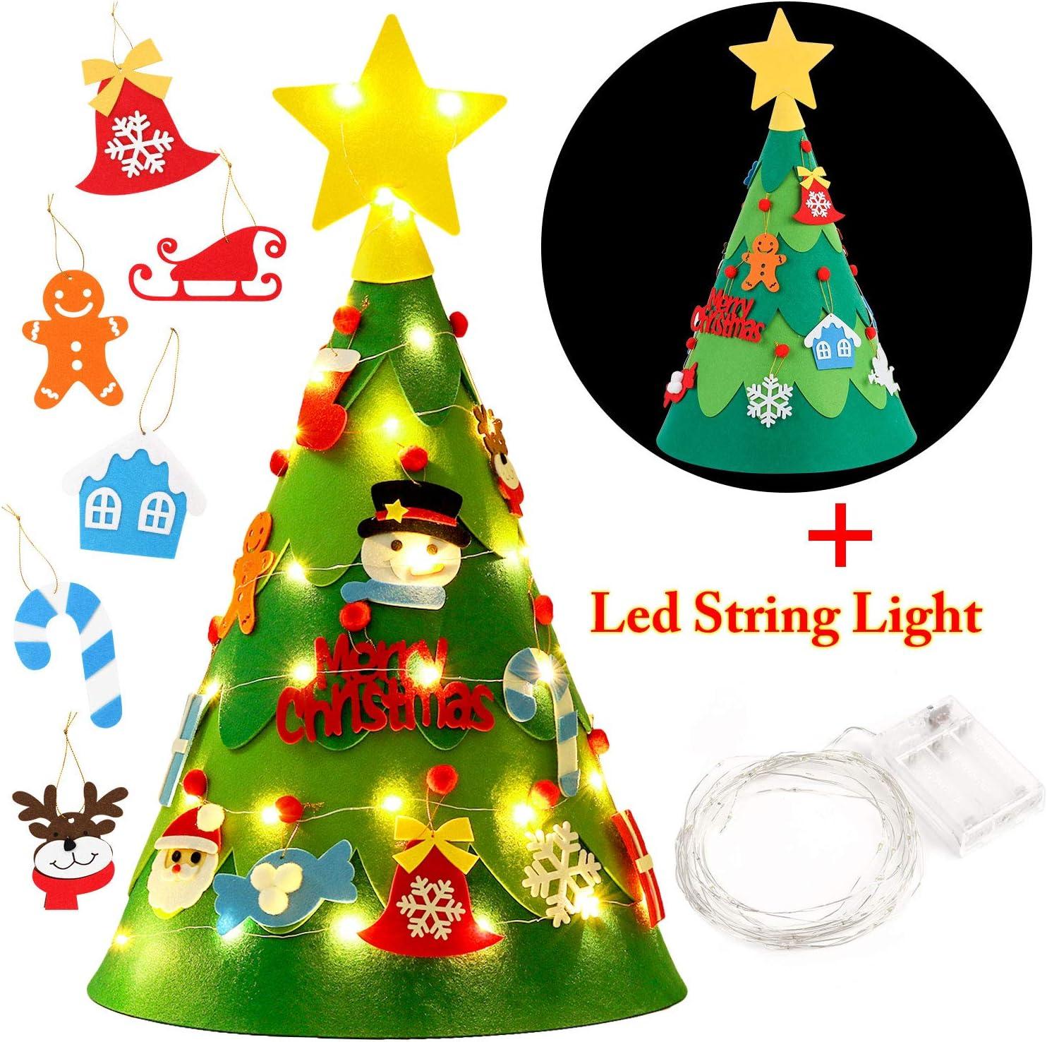 FunPa Conjunto de /árbol de Navidad de Fieltro Cuenta atr/ás Calendario Decoraci/ón de /árbol de Navidad con Adornos