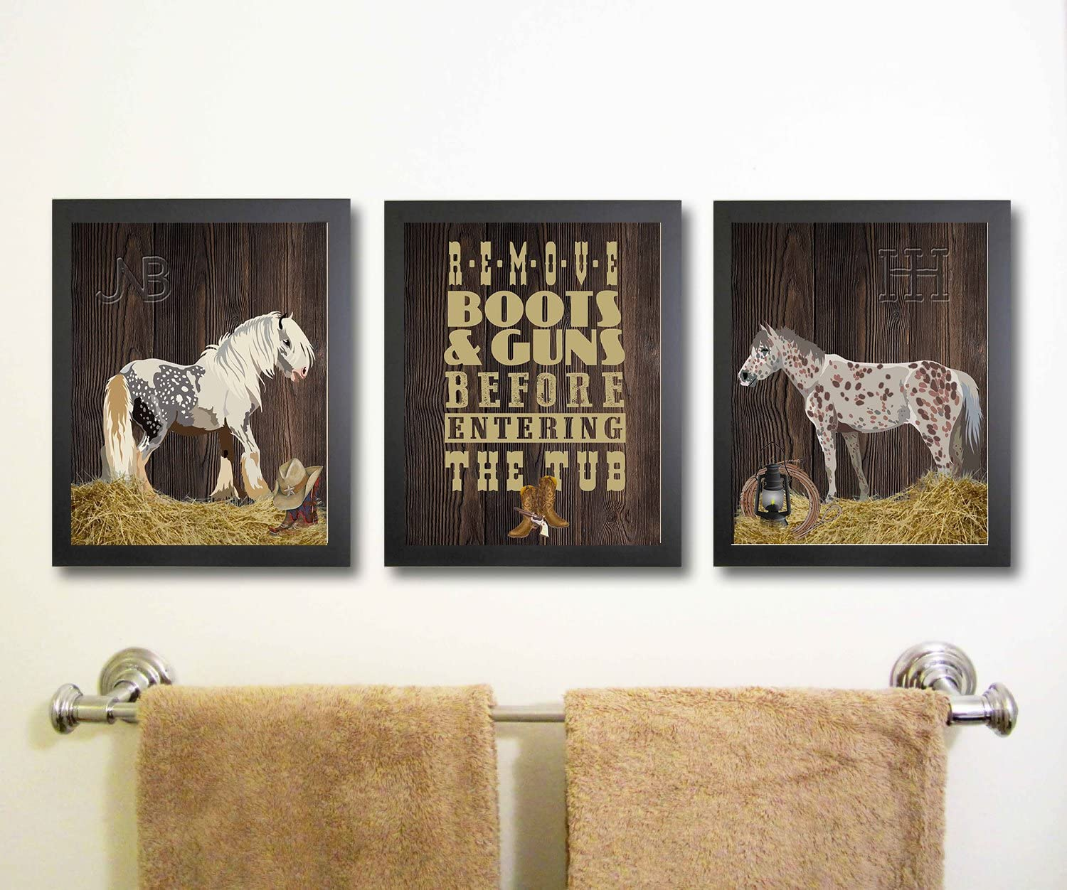 Silly Goose Gifts Western Cowboy Horse Themed Bathroom Wall Art Print Decoration (Set of 3)