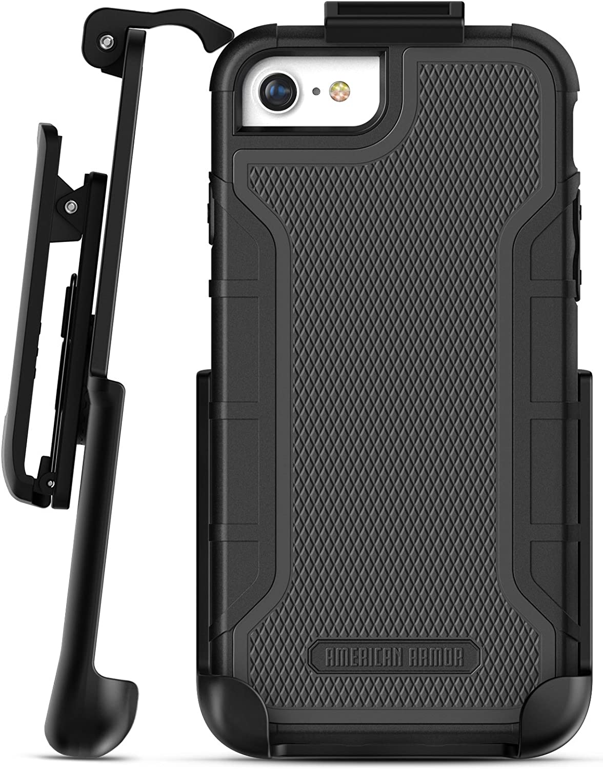 Encased Heavy Duty iPhone 8 Belt Case (Built in Screen Protector) Shockproof American Armor, Full-body Rugged Cover w/ Holster Clip - Compatible to Apple iPhone 8 4.7inch (Black)