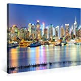 Large Canvas Print Wall Art – MANHATTAN MARINA – 40x30 Inch New York Cityscape Canvas Picture Stretched On A Wooden Frame – Giclee Canvas Printing – Hanging Wall Deco Picture / e4772