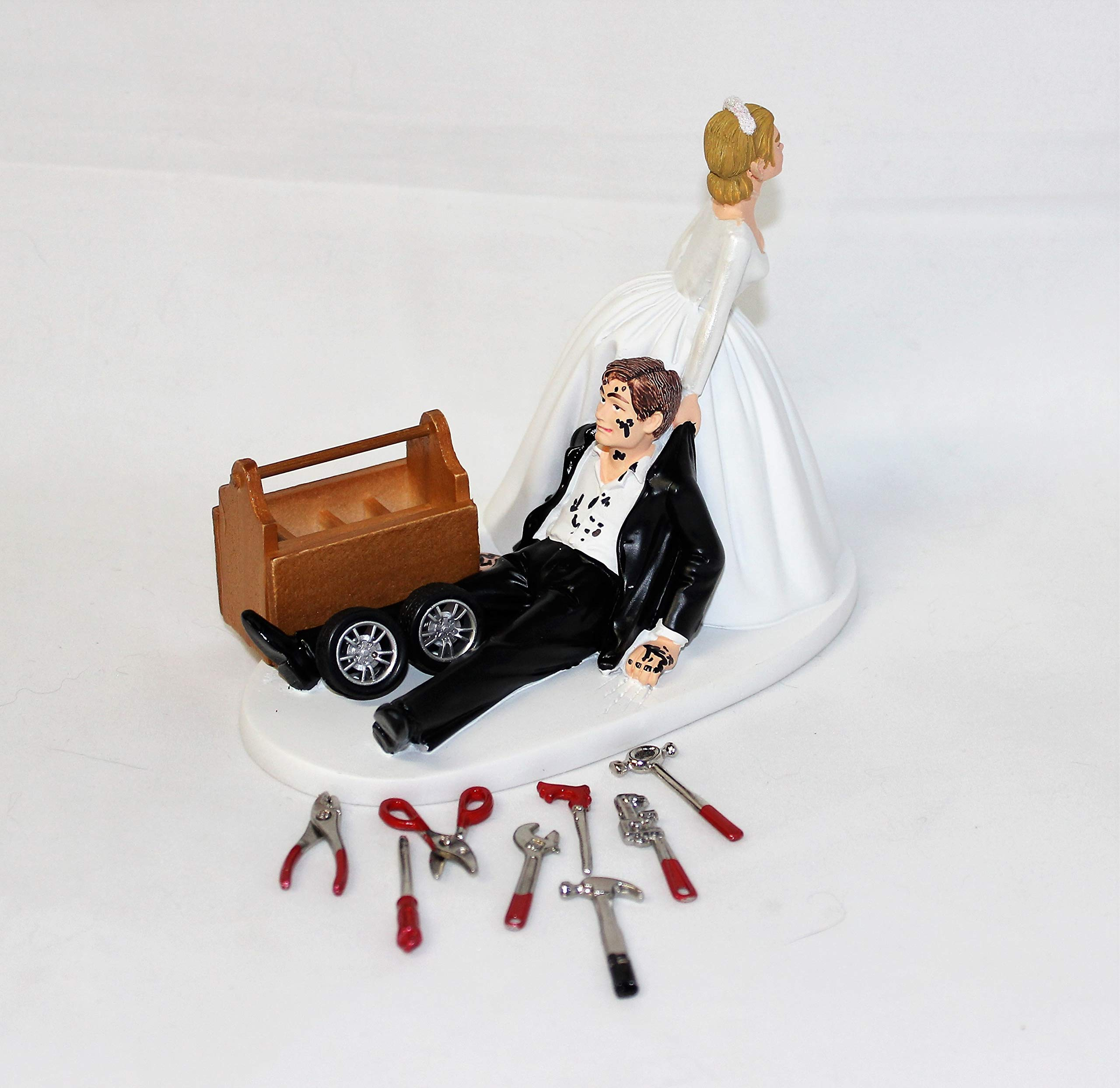 Wedding Reception Party Shop Garage Mechanic tool grease Cake Topper