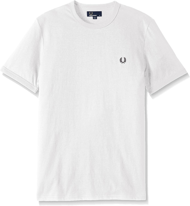 Fred Perry Hombres Timbre de Contraste Cuello Redondo t-Shirt Carbón De Leña