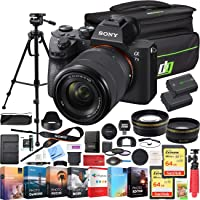 Sony a7III Full Frame Mirrorless Camera with FE 28-70 mm F3.5-5.6 OSS Lens ILCE-7M3K/B Bundle with Telephoto and Wide-Angle Lens Set, 2X 64GB Memory Cards, Deco Gear Bag and Accessories (26 Items)