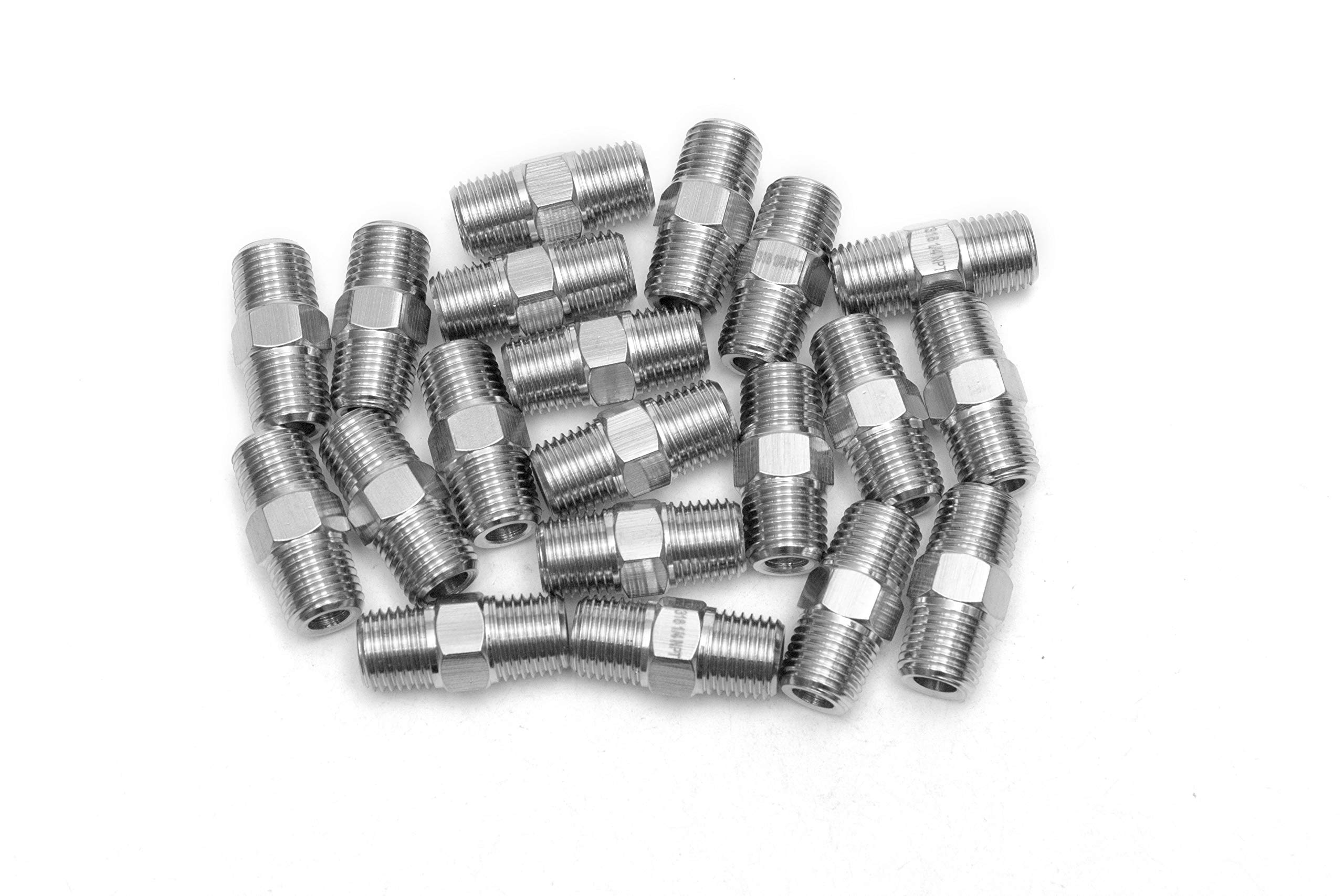 LTWFITTING Class 3000 Stainless Steel 316 Pipe Hex Nipple Fitting 1/4'' Male NPT Air Fuel Water (Pack of 20)