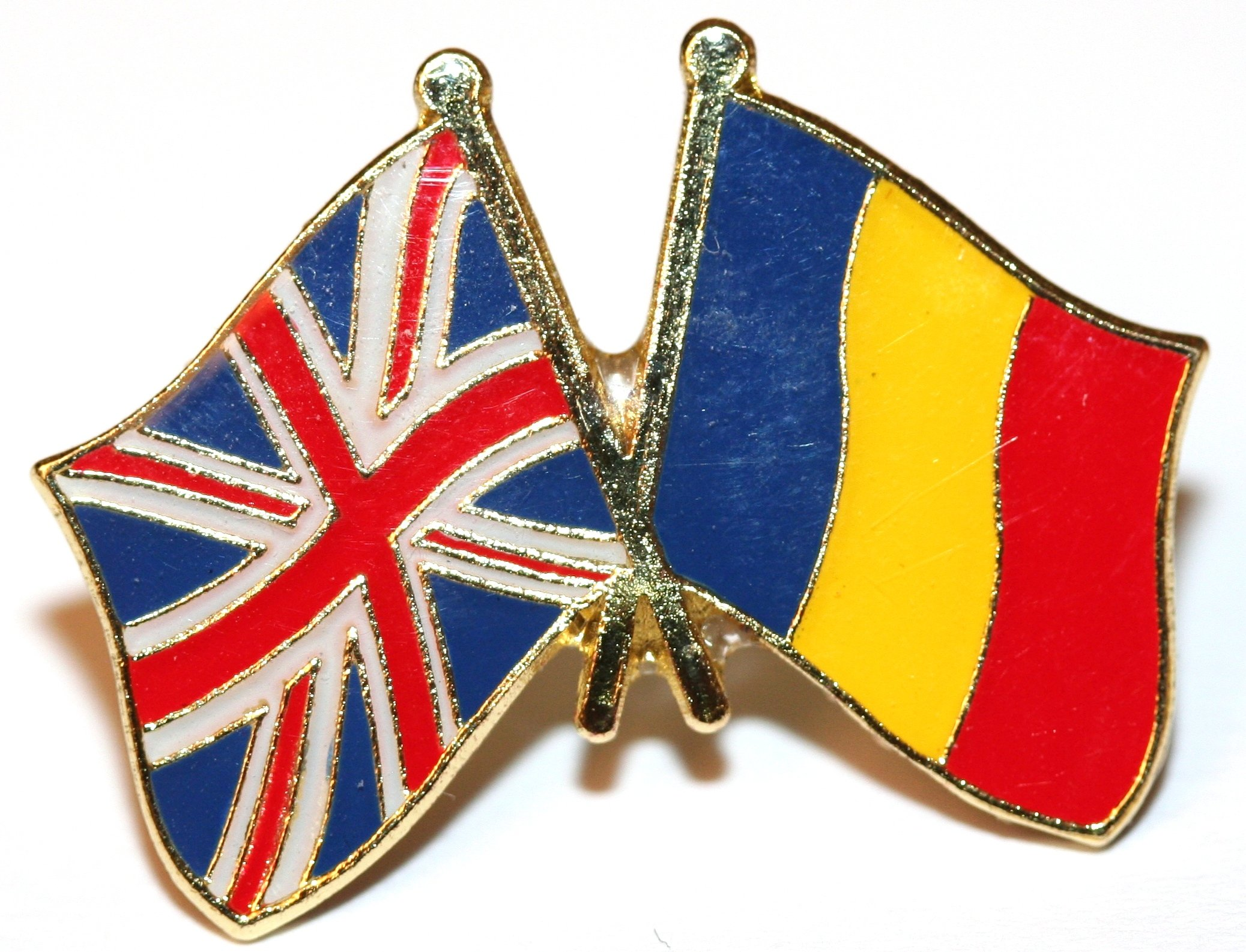 UK & Romania Friendship Flag Pin Badge