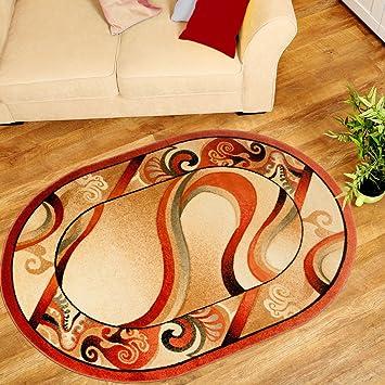 Amazon.de: Teppich Wohnzimmer Traditionell Oval - Farbe Creme Braun ...