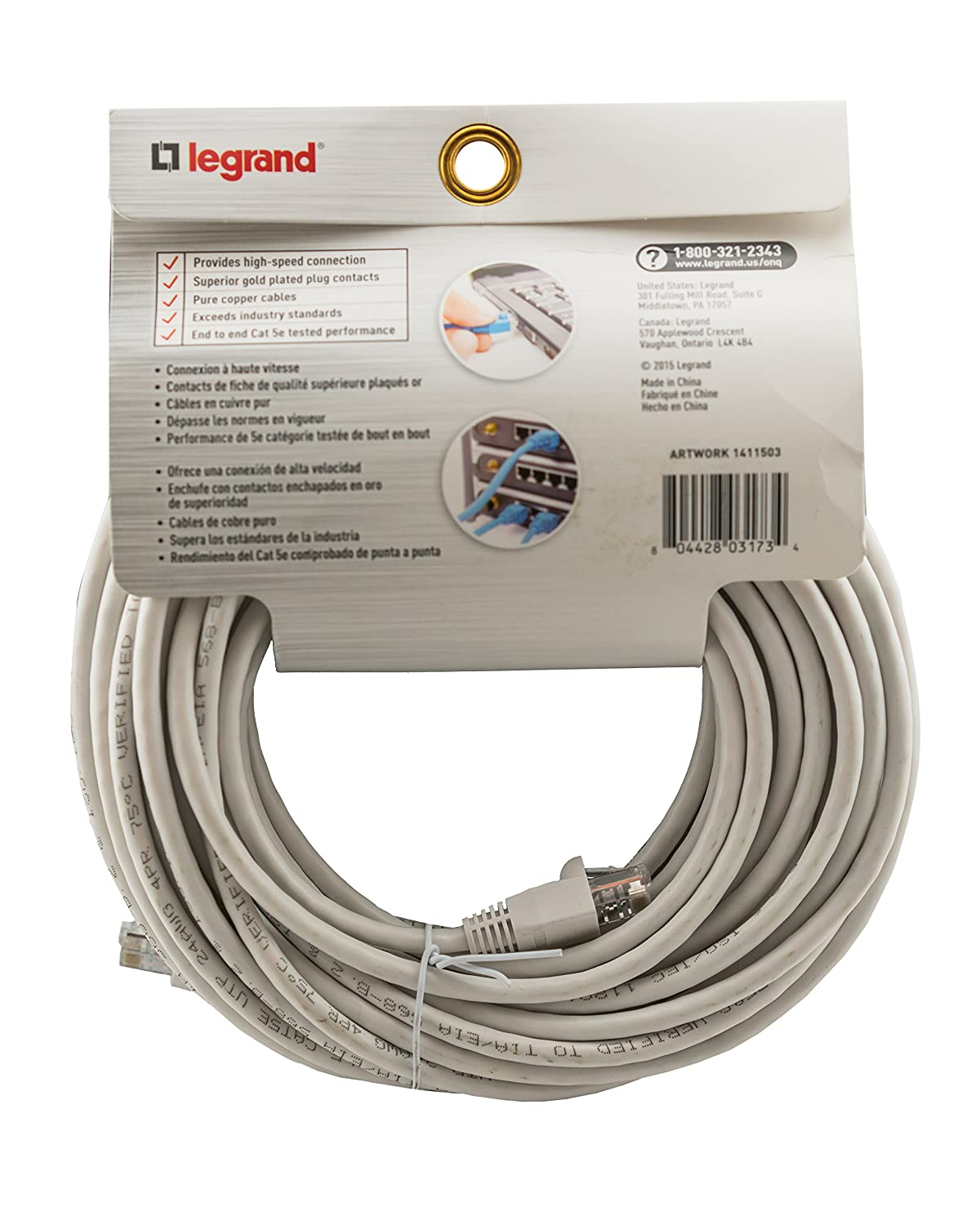 Legrand - On-Q CAT 5e Patch Cable, 10Gbps Ethernet Speed, Computer Networking Cord/Data Cable, 50-foot, AC3550WHV1 - Electrical Wires - Amazon.com