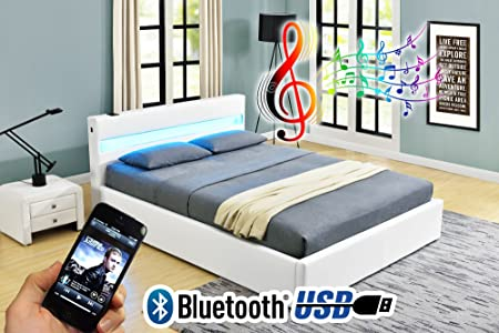 Marvelous Romero LED Music Bed With Bluetooth   Speakers   Ottoman Gas Lift Storage    Faux Leather