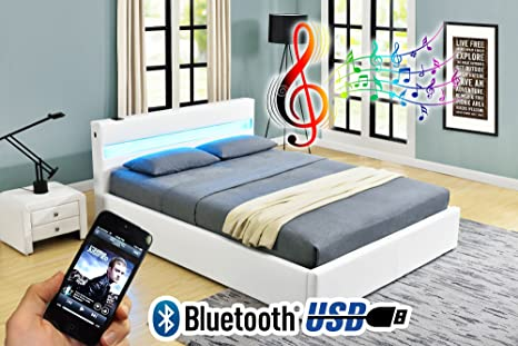 Letto alla turca Romero Music Bed, con LED, Bluetooth, altoparlanti ...