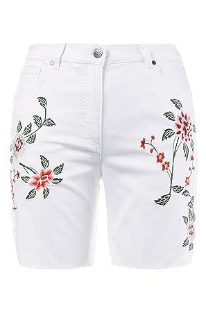 Ulla Popken Femme Grandes Tailles Short en Jean avec Broderies ... 27a85594c78