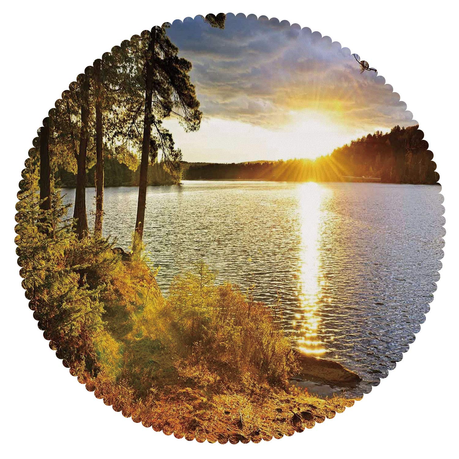 iPrint Round Tablecloth [ Landscape,Sunset Dawn in The Forest Over Lake of Two Rivers Algonquin Park Ontario Canada,Multicolor ] Fabric Home Decor Set