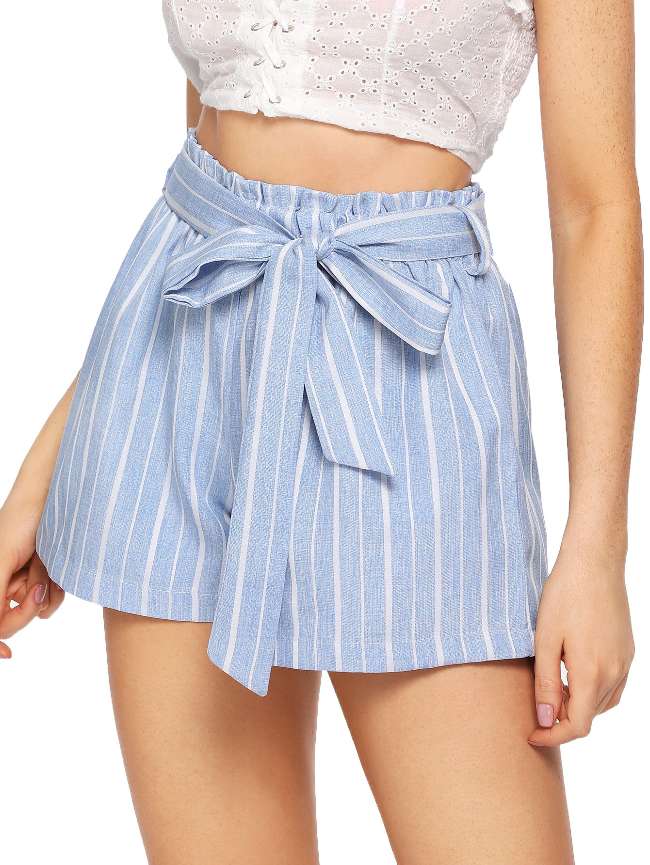 SweatyRocks Women's Casual Elastic Waist Striped Summer Beach Shorts with Pockets (Medium, Light Blue)