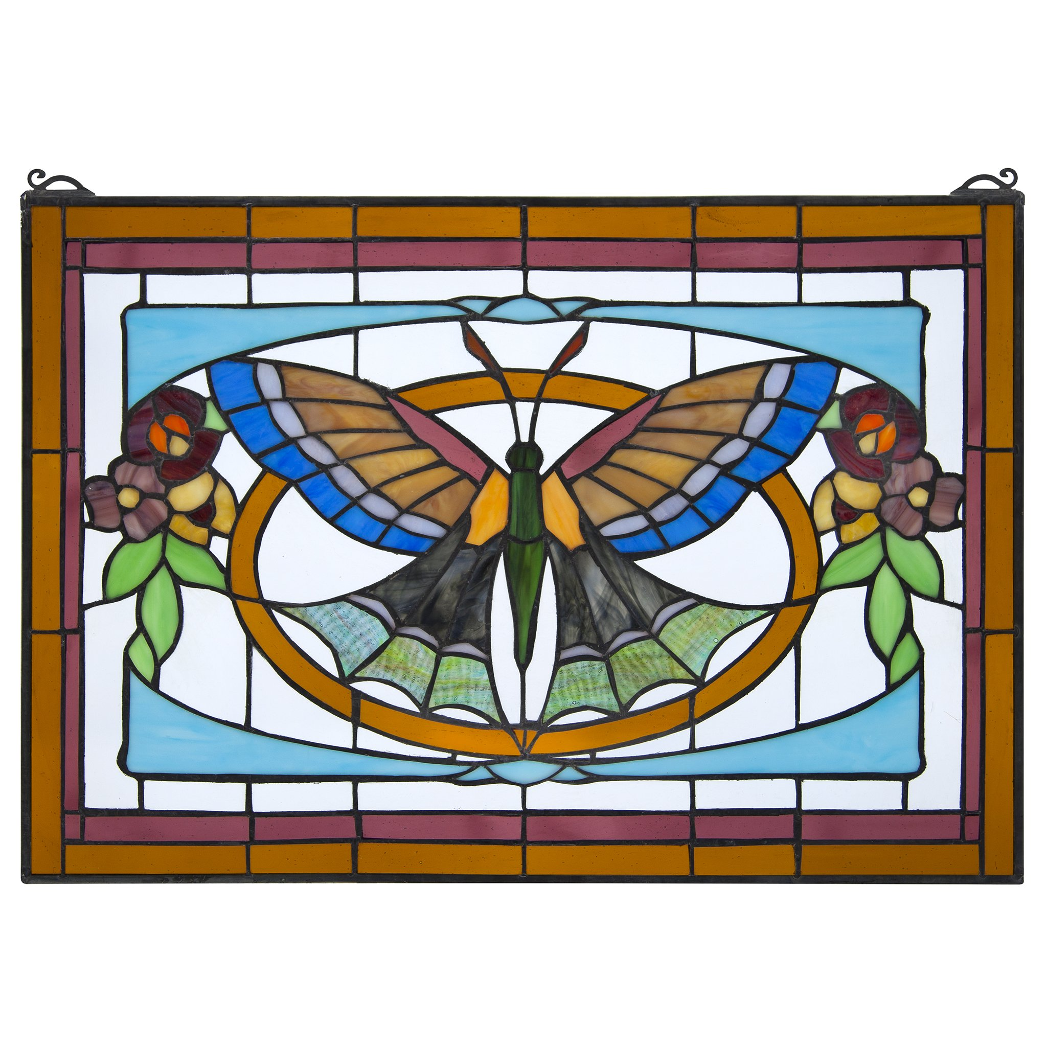 Stained Glass Panel - Butterfly Ballet Stained Glass Window Hangings - Window Treatments