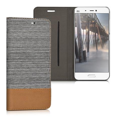kwmobile Funda para Xiaomi MI5 - Carcasa de [Tela] y [Cuero sintético] - Case con [Soporte] en [Gris Claro/marrón]
