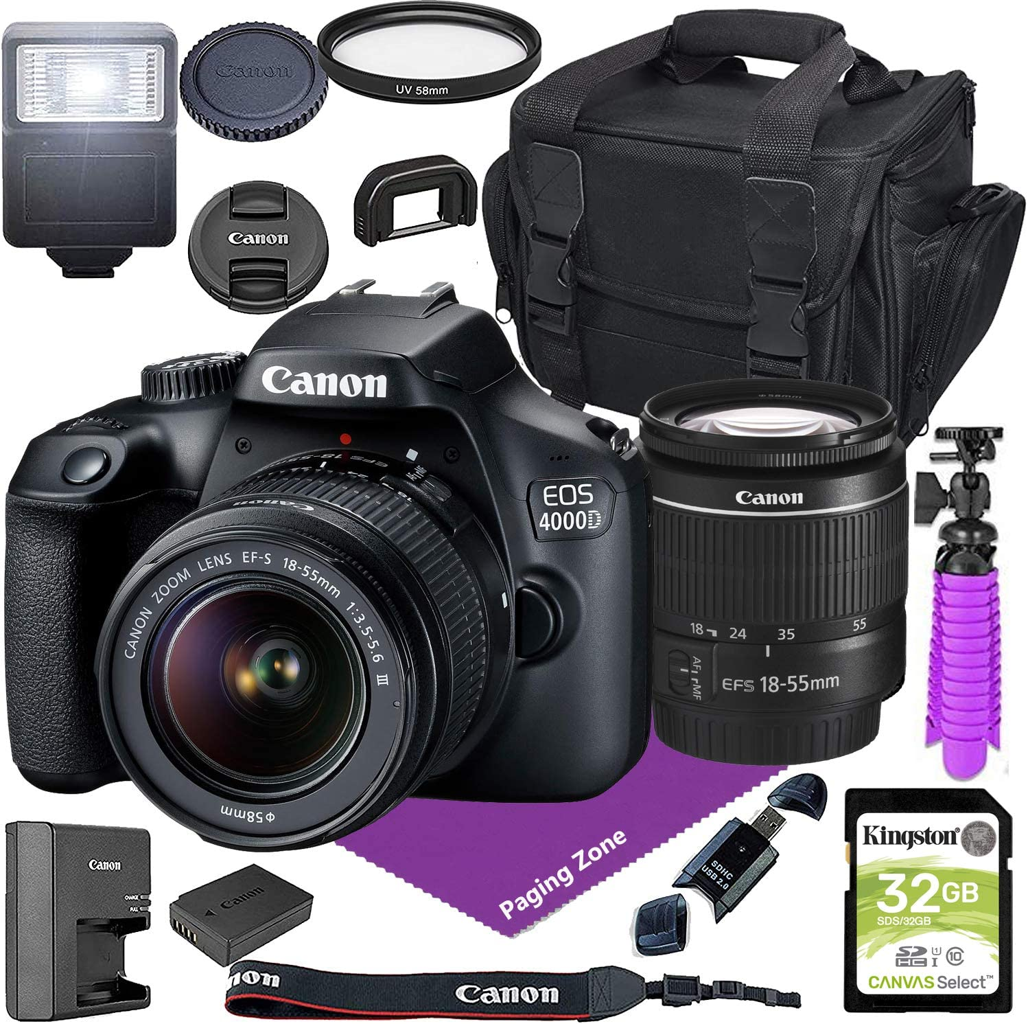 Canon EOS 4000D DSLR Camera w/Canon EF-S 18-55mm F/3.5-5.6 III Zoom Lens + Case + 32GB SD Card Bundle