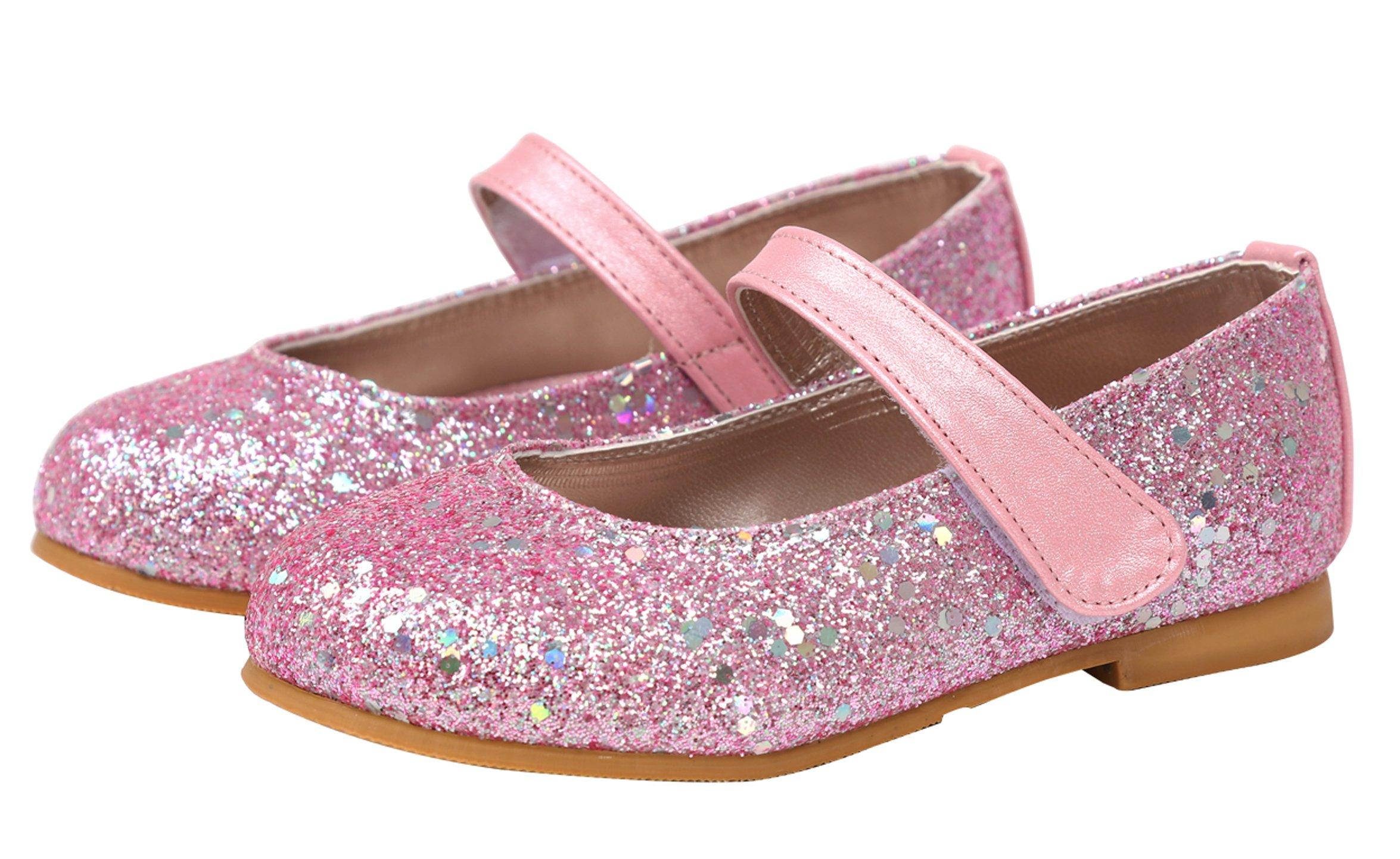 Ozkiz Kids Girl's Glitter Mary Jane Casual Slip On Ballerina Flat Shoes (Toddler/Little Kid) PK 12m