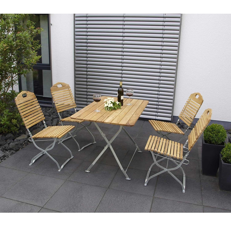 Garnitur BAD TÖLZ 5-teilig verzinkt klappbar / 4x Stuhl, 1x Tisch, Robinienholz, Flachgestell transparent pulverbeschichtet