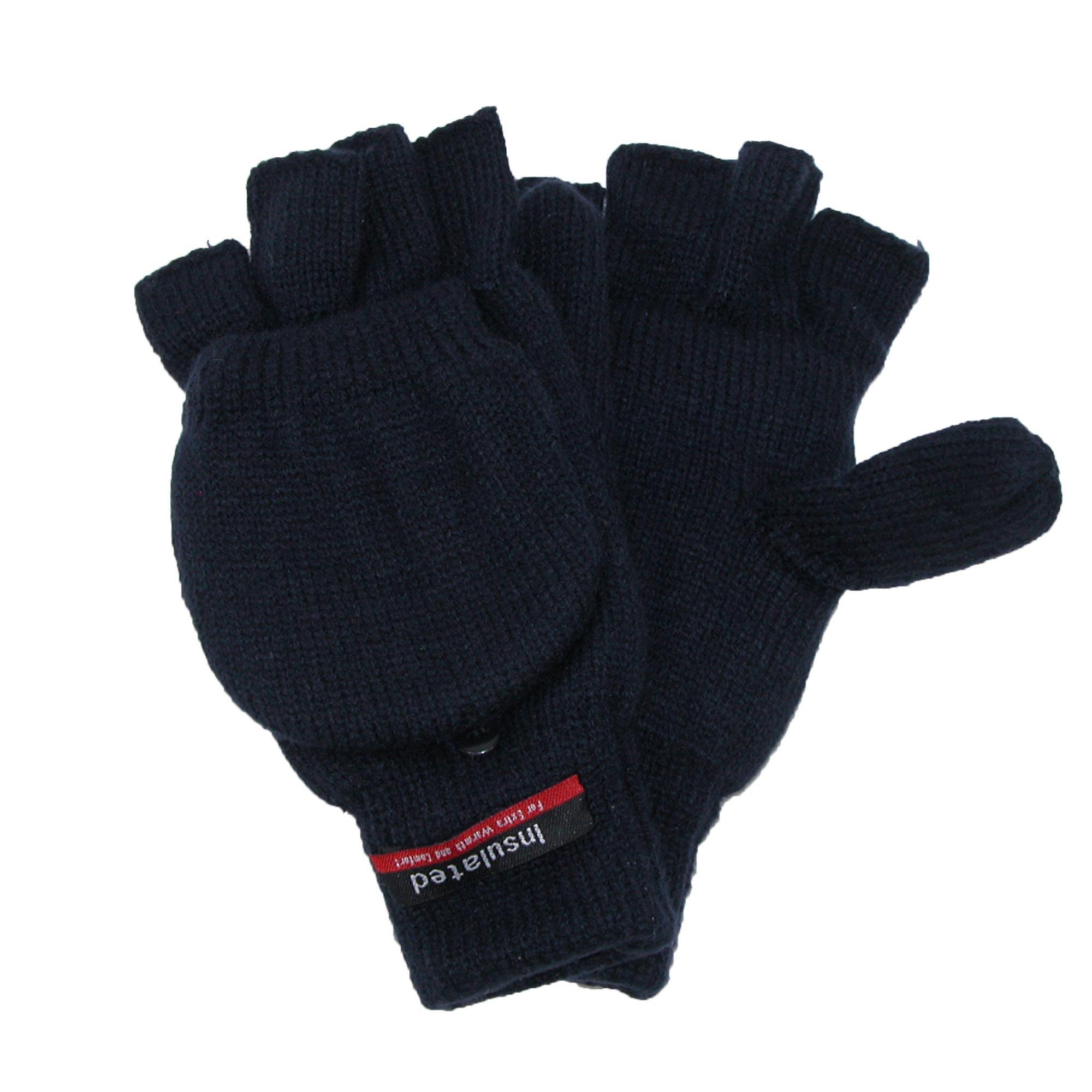 CTM Men's Knit Flip Top Insulated Gloves, Navy