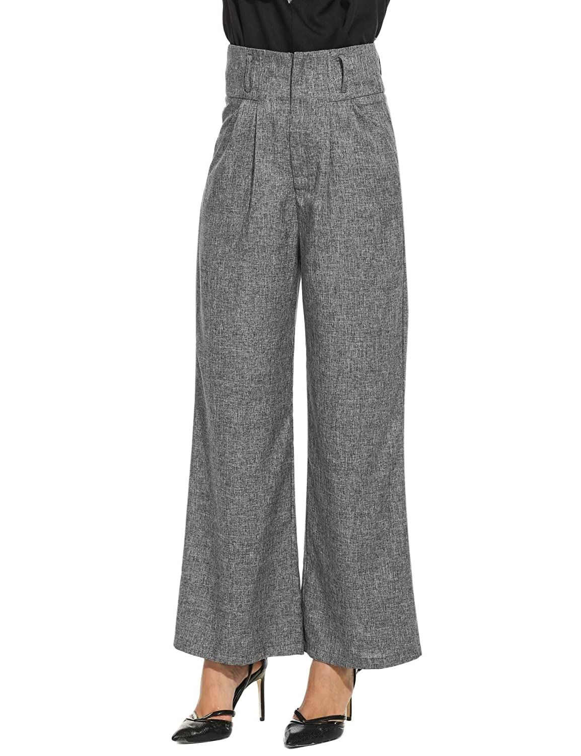 1940s Pants History- Overalls, Jeans, Sailor, Siren Suits Zeagoo Womens Casual Superline Wide Flare Leg High Waist Zipper Solid Long Pants $27.99 AT vintagedancer.com
