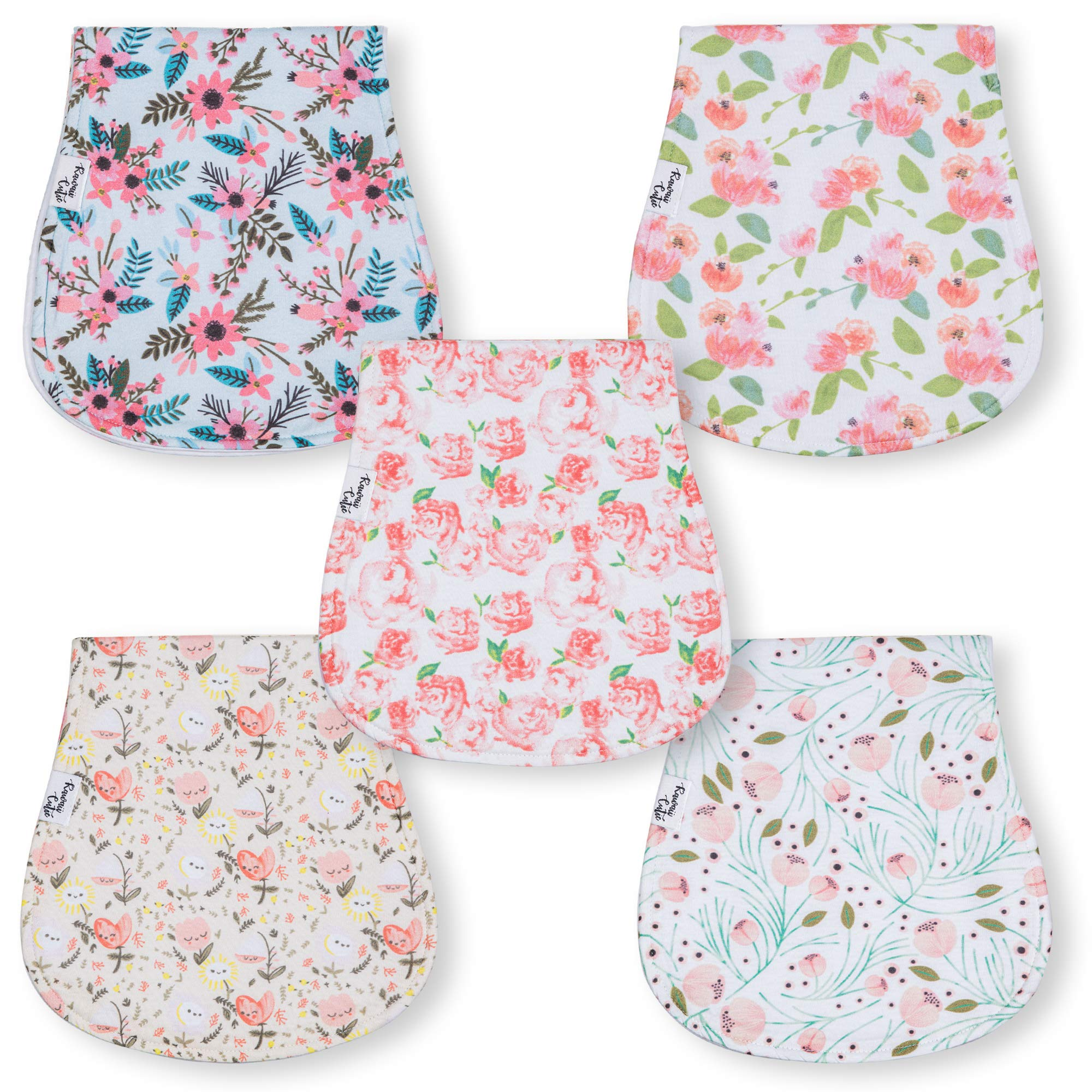 5 Pack Baby Burp Cloths for Girls | Pretty in Pink Floral Print Babies Burping Cloths | Soft Cotton Burp Towels with Beautiful Flowers | Large Spit Up Cloths Made with 3 Absorbent Layers by Kawaii Cutie