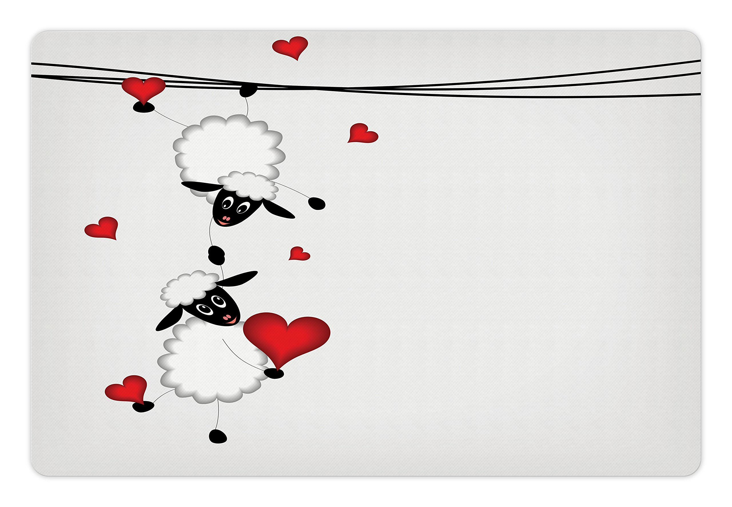 Ambesonne Animal Pet Mat for Food and Water, Sheep Couple with Heart Shapes in Love Valentine's Hanging On Fun Comic Cartoon, Rectangle Non-Slip Rubber Mat for Dogs and Cats, Red White Black,