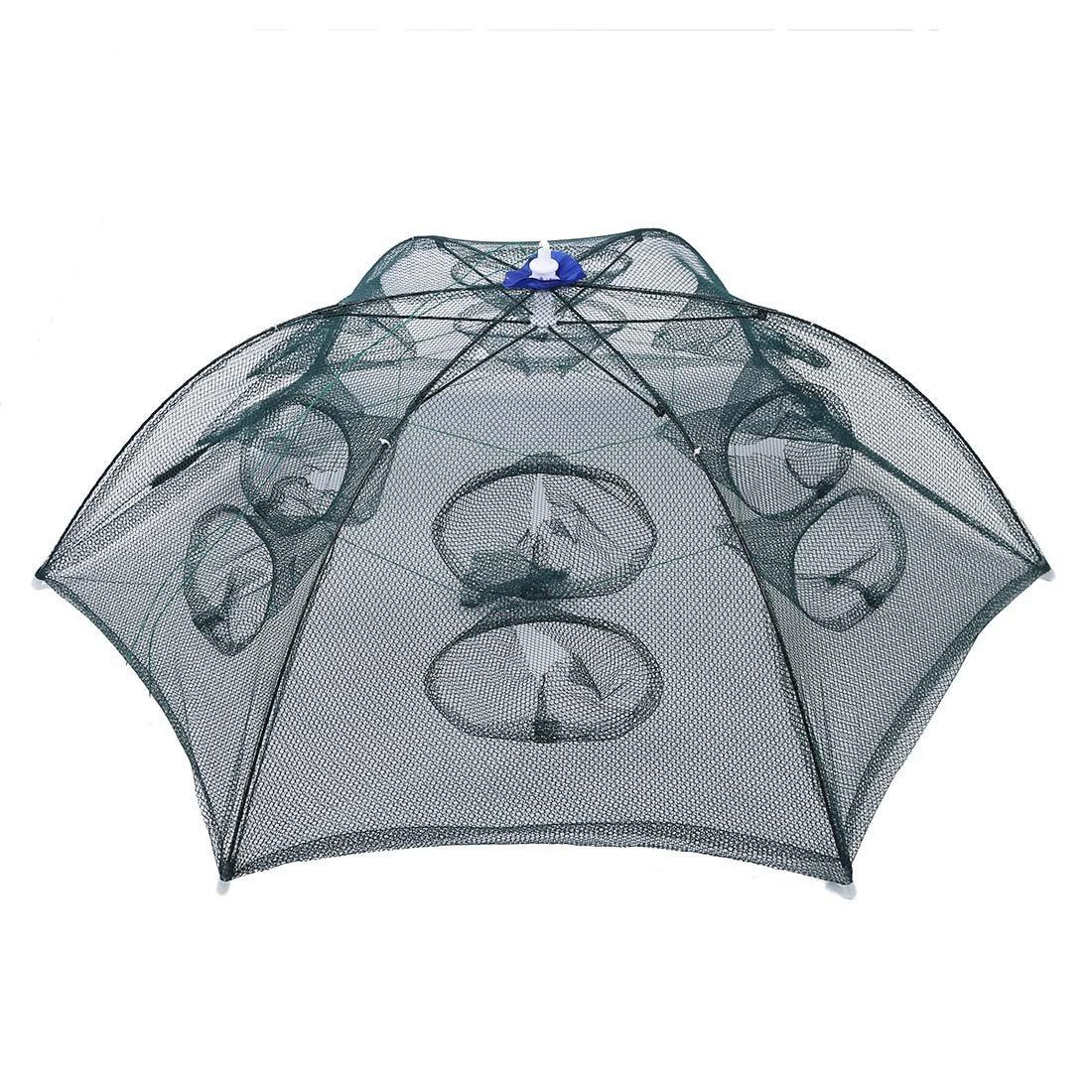 TOOGOO ( R )トラップネット釣りCamaronケージポータブル傘スタイル折りたたみ式with 12穴グリーン B01I66XH5E
