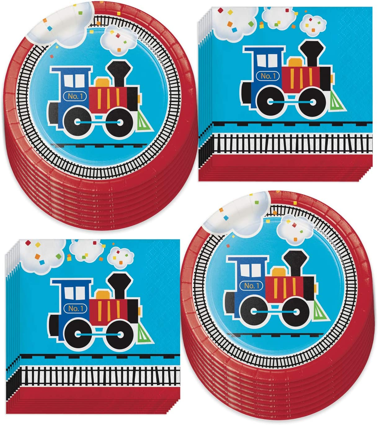 Train Theme Party Supplies - All Aboard Paper Dessert Plates and Beverage Napkins Serves 16)