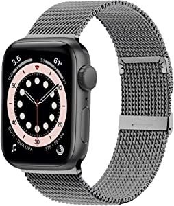 Ewsprou Magnetic Band Compatible with Apple Watch 38mm 40mm 42mm 44mm, Stainless Steel Mesh Strap Replacement for iWatch SE iWatch Series 6/5/4/3/2/1 Women Men (Spacy Gray, 38mm 40mm)