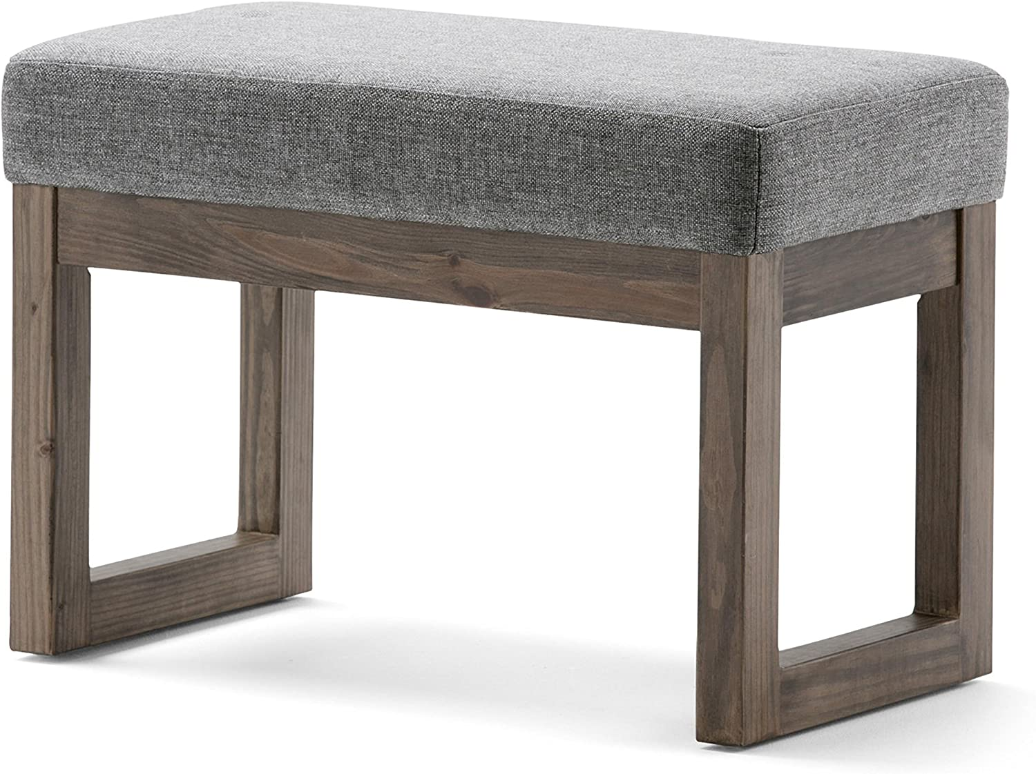 Simpli Home 3AXCOT-252-SM-GL Milltown 27 inch Wide ContemporaryFootstool Ottoman Bench in Grey Linen Look Fabric