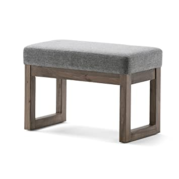 Strange Simpli Home Milltown 27 Inch Wide Contemporary Footstool Ottoman Bench In Grey Linen Look Fabric Beatyapartments Chair Design Images Beatyapartmentscom