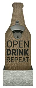 "MCS Bar None Open Drink Repeat Beer Bottle Opener & Catcher Wall Art, 4.5""x13.5"", Brown"