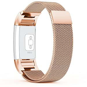 Fitbit Charge 2 Strap (3.5-6.5inch) Small, with Unique Magnet Lock, PUGO TOP¨ Milanese Loop Stainless Steel Bracelet Strap Band for Fitbit Charge 2 Smart Watch No Buckle Needed (Champagne Gold)
