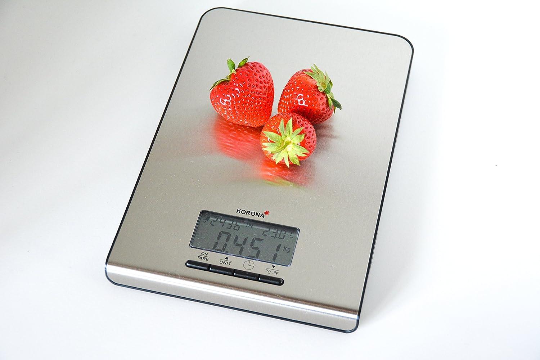 Korona 4825656, Acero inoxidable, 150 x 215 x 18 mm - Báscula de cocina: Amazon.es: Hogar