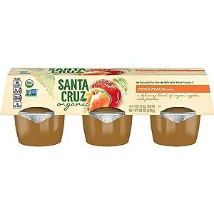 Santa Cruz Organic Apple Peach Sauce, 6-4 Ounce Cups