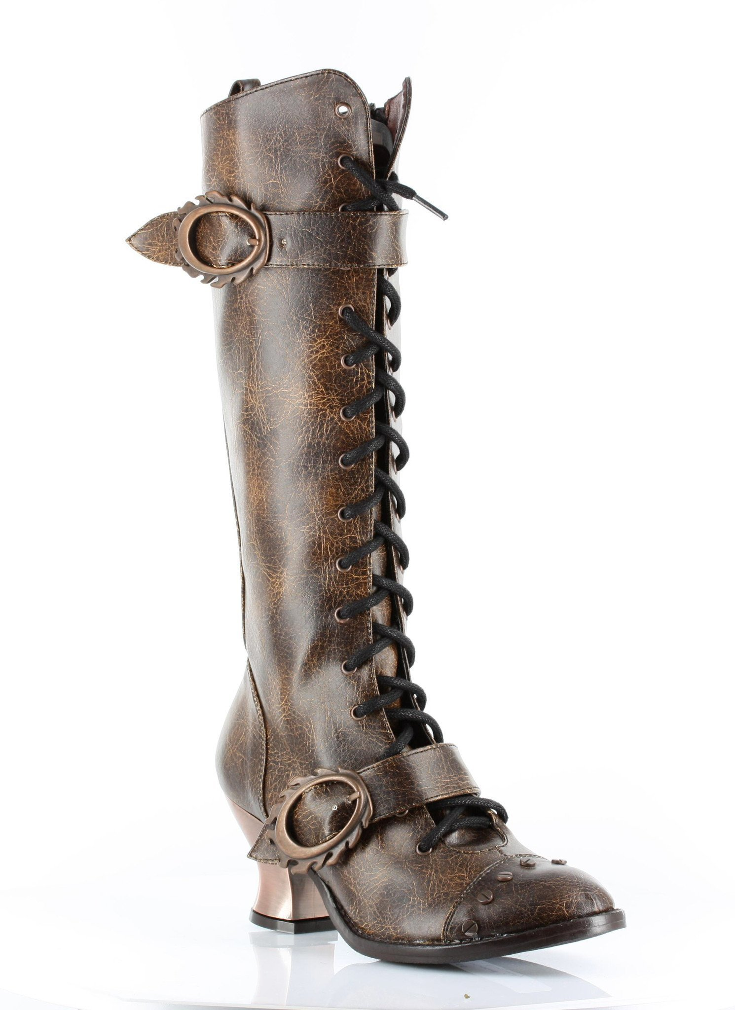 Hades Shoes - Burgundy Vintage Knee High Boots 3