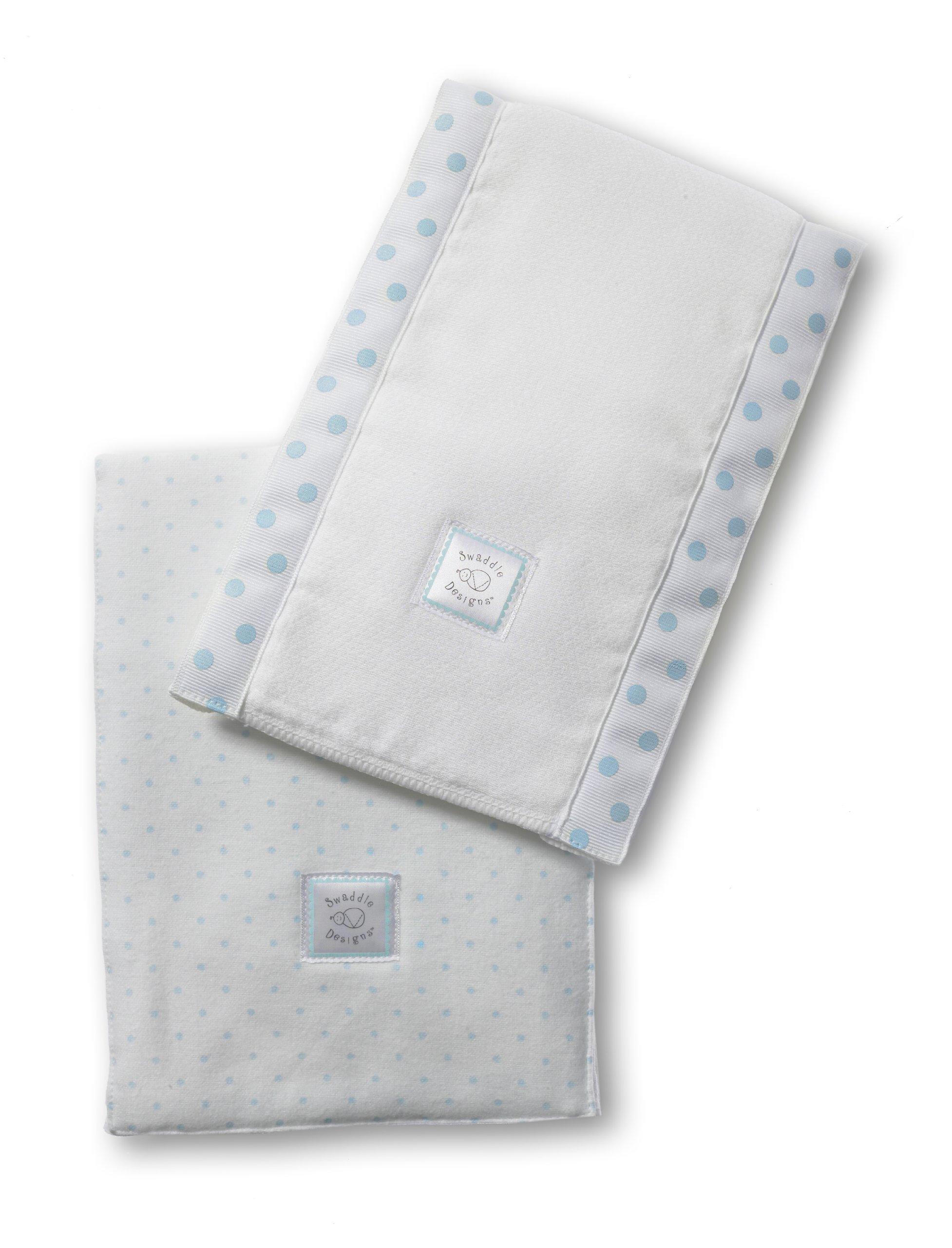 SwaddleDesigns Baby Burpies, Set of 2 Cotton Burp Cloths, Pastel Blue Polka Dots