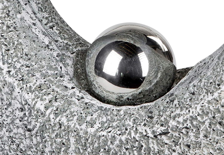 dekojohnson Decorazione da Giardino Moderna con Sfera in Acciaio Inox Scultura da Giardino Astratto 41 x 46 cm Grande Esterno//Interno Grigio Statuetta da Giardino in Pietra Anticata