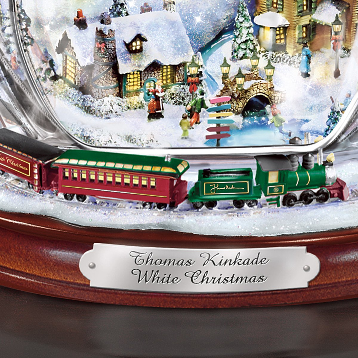 Amazon Thomas Kinkade Crystal Snowman Figurine Featuring Light Up Village And Animated Train By The Bradford Editions 1 Home Kitchen