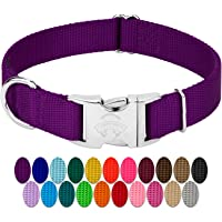 "Country Brook Petz | Premium Nylon Dog Collar with Metal Buckle (Large, 1"" Wide, Purple)"