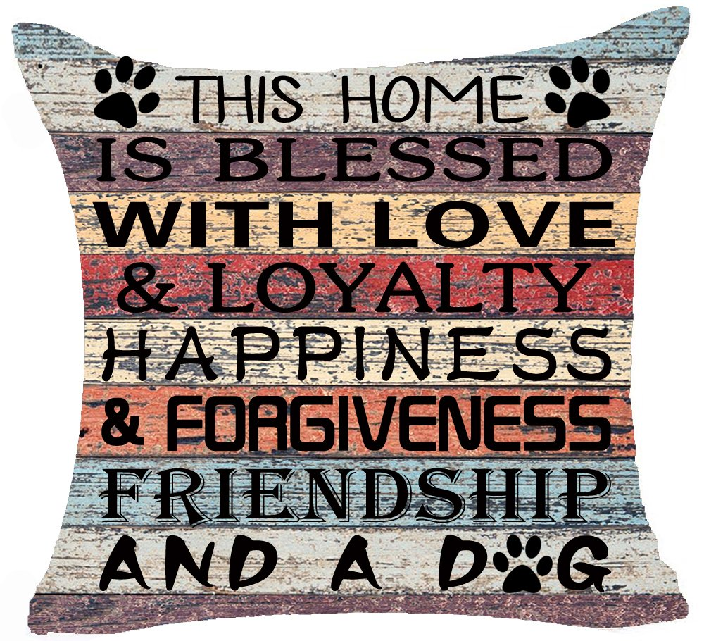 Retro Vintage Wood Grain Background This Home Is Blessed & Loyalty Happiness And A Dog Paw Prints Sturdy Cotton Linen Throw Pillow Case Cushion Cover NEW Indoor Home Decorative Square 20 X 20 Inches