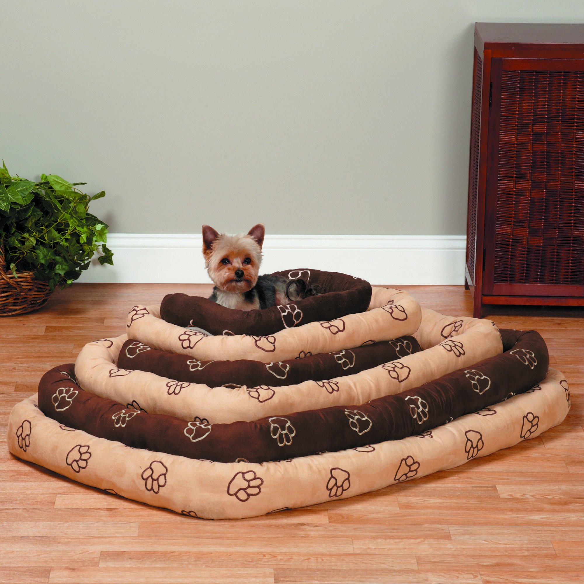 Slumber Pet Embroidered Pawprint Crate Beds - Soft and Extra-Durable Beds for Dogs and Cats - X-Large, 473/4'' L x 293/4'' W, Chocolate